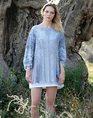 Deer, wearable art, silk dress, dolman sleeve
