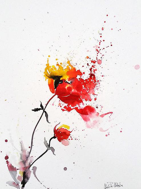 "POPPY Watercolor & Acrylic 24""x18"""
