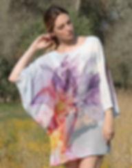 Flowers on the skin,wearable art, silk dress, dolman sleeve