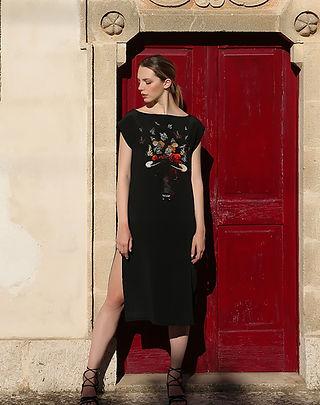 Delicate bull, wearable art, silk dress