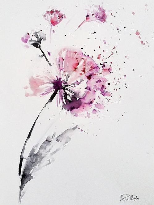 """DANDELION 2 Watercolor & Acrylic 24""""x18"""""""
