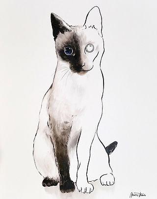 Luna,  fine art prints for sale, watercolor, mixed media, animals, cat