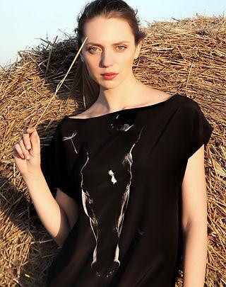 Like a dandelion, wearable art, silk dress