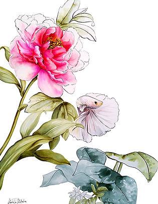 Rio went to Eden,  watercolor, textile designer for commission art