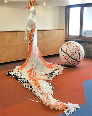 fashion installation art, recycled materials, art residency, sustainable art, koi, Colorado