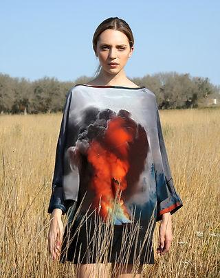 fire clouds,wearable art, silk dress, dolman sleeve