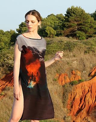 Fire clouds, wearable art, silk dress