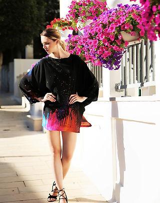 In the sparkles, wearable art, silk dress