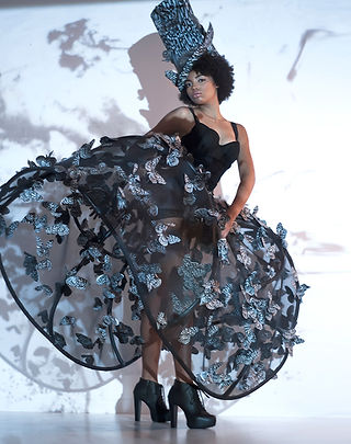 fashion installation art, recycled materials, irrigation tubes