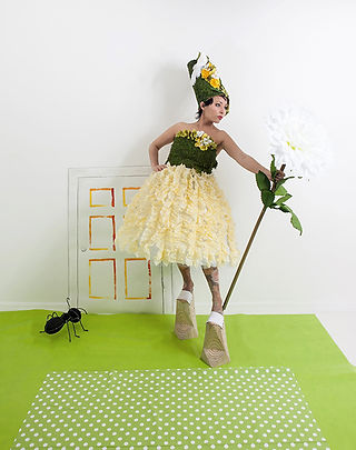 Alice in Wonderland, fashion installation art, recycled materials, plastic