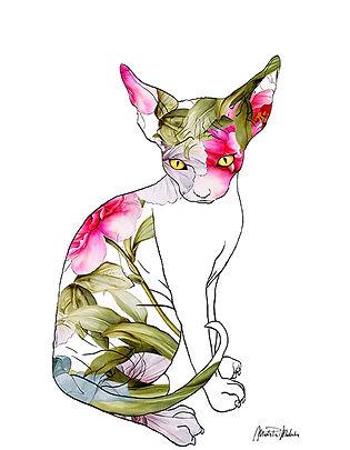 Jody,  fine art prints for sale, watercolor, mixed media, animals, cat