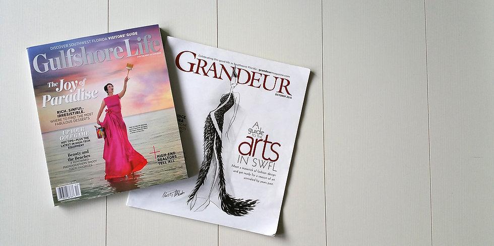 Mariapia Malerba press, recognition, Gulfshore Life magazine, Grandeur magazine, Euroarte magazine, vogue