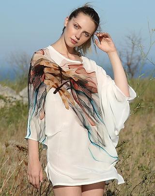 Dragonfly, wearable art, silk dress, dolman sleeve