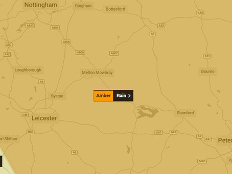 Amber Weather Warning For Leicestershire and Rutland
