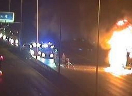 Severe delays following M1 lorry fire