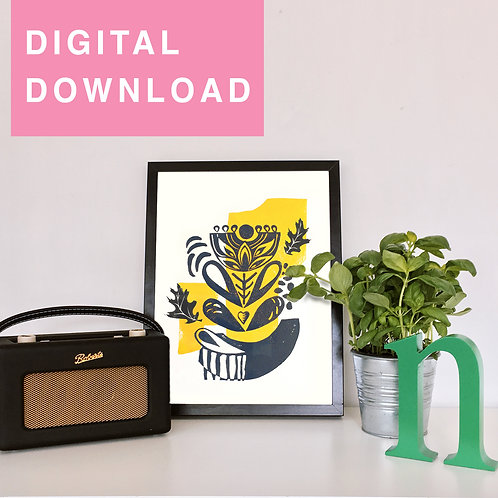 Yellow Flower Original Linocut For Instant Download