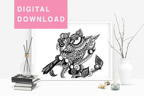 Sparrow Original Drawing For Instant Download