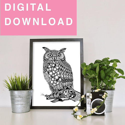 Owl Original Ink Drawing For Instant Download