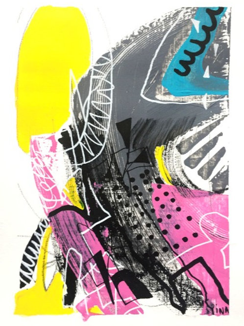 Modern Colourful Mixed Media Drawing