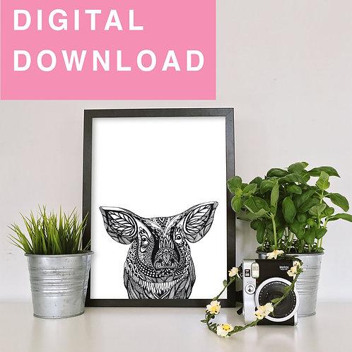 Pig Original Detailed Ink Drawing For Instant Download