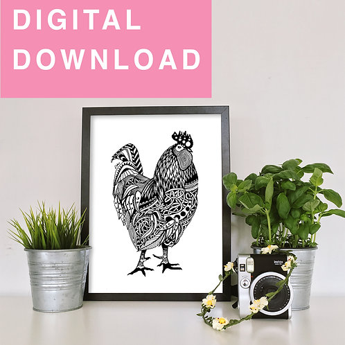 Rooster Printable Original Wall Art