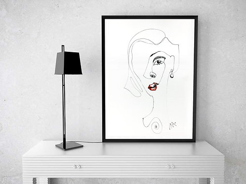 Red Lips Sexy Art Portrait