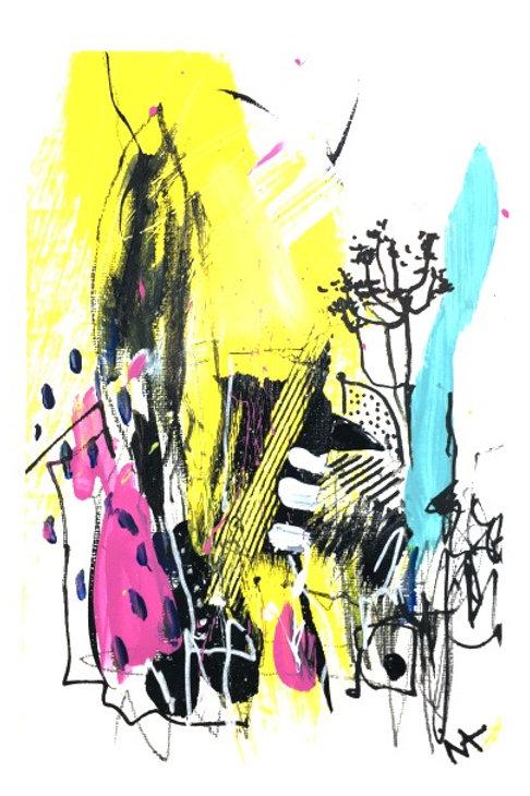 Mixed Media Abstract Drawing