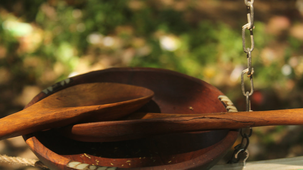 wooden plate and serving spoon