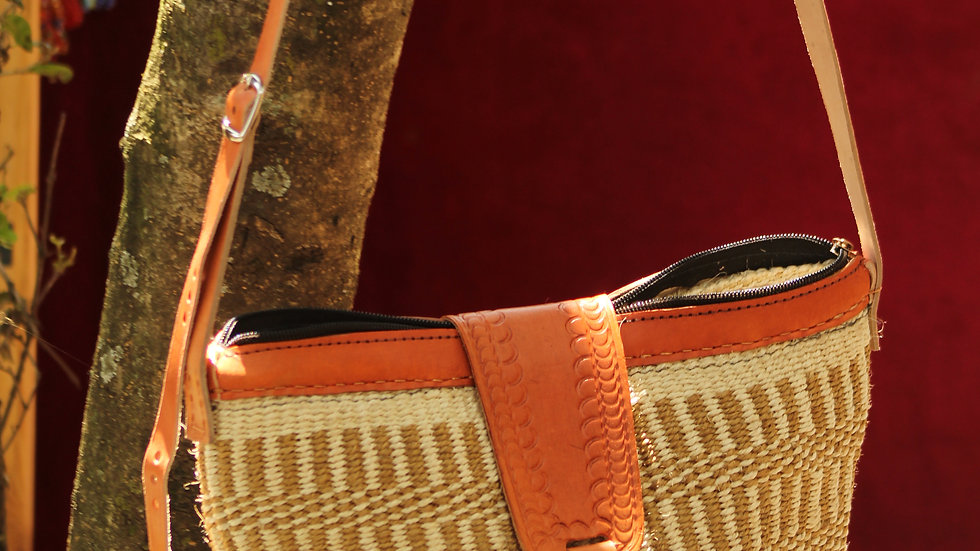 African Handmade sisal and woolen bag