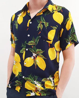 Aloha Shirt - Lemon Navy