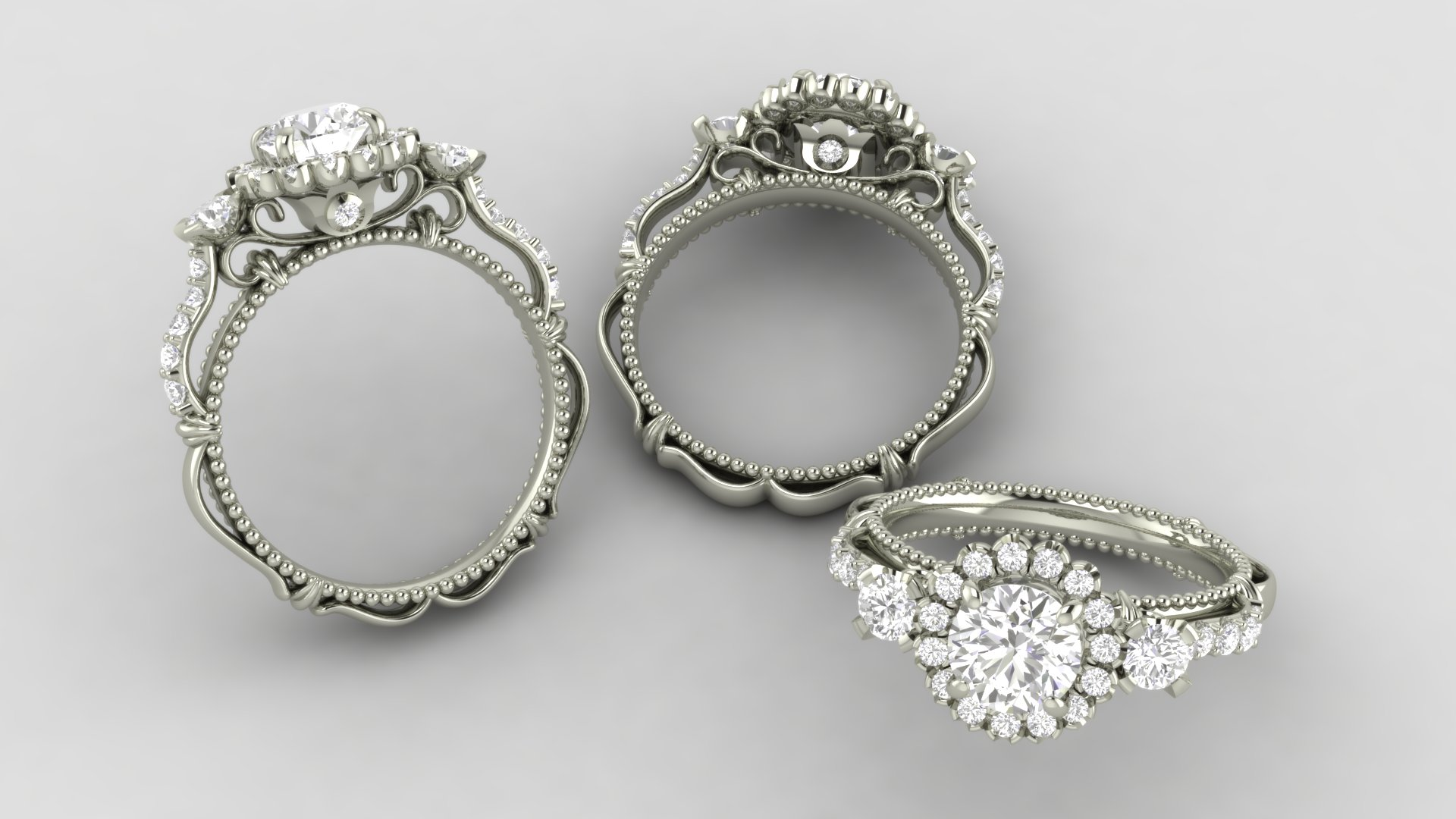 White gold ribbon ring