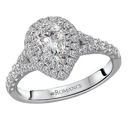 Halo Diamond Ring, Pear Shape