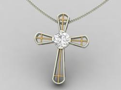 White and Yellow Diamond Cross