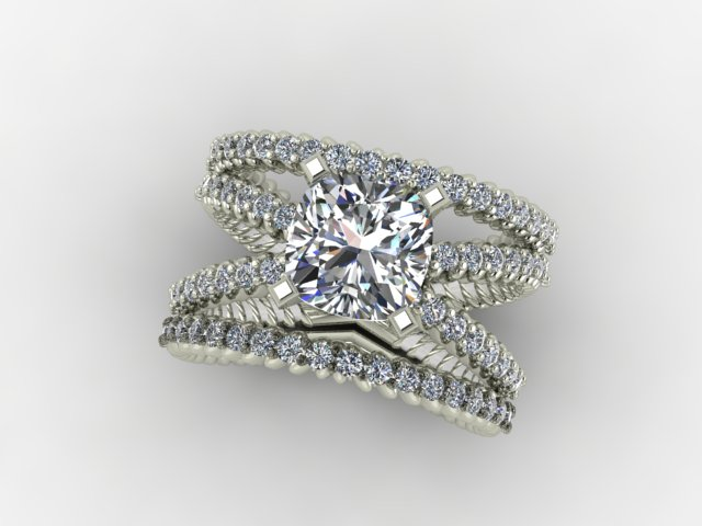 White gold X engagement ring