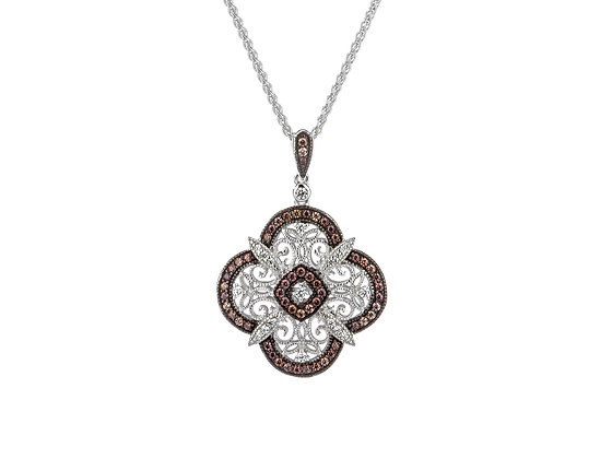 CZ Night & Day Scalloped Reversible Pendant