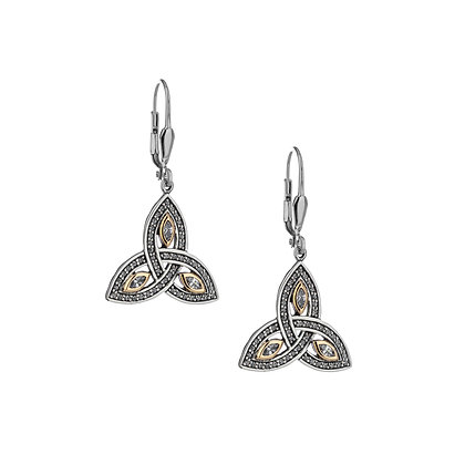 CZ Trinity Leverback Earrings