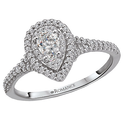 Halo Diamond Ring, Pear Shape