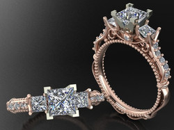 Rose gold engagement ring with diam