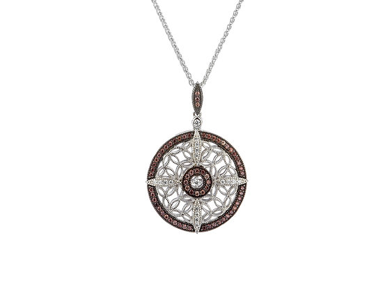 CZ Night & Day Collection Round Reversible Pendant