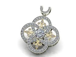 Circle Fleur de lis Diamond Pend