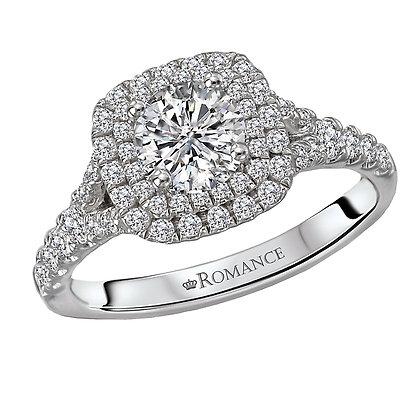 Halo Diamond Ring, Round Center Cushion Shape Halo