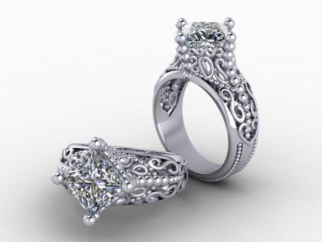 3ct Platinum Scroll ring