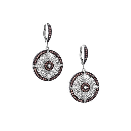 CZ Night & Day Round Leverback Earrings