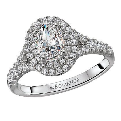 Halo Diamond Ring, Oval Shape