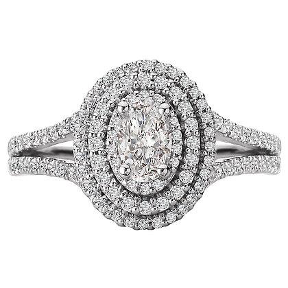 Split Shank Double Halo Diamond Ring, Oval Stone
