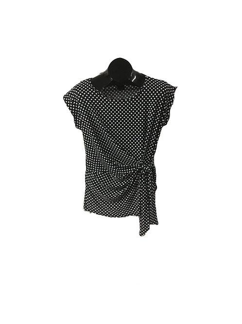 Black/White Polka Dot Print Side Tied Capsleeve Top