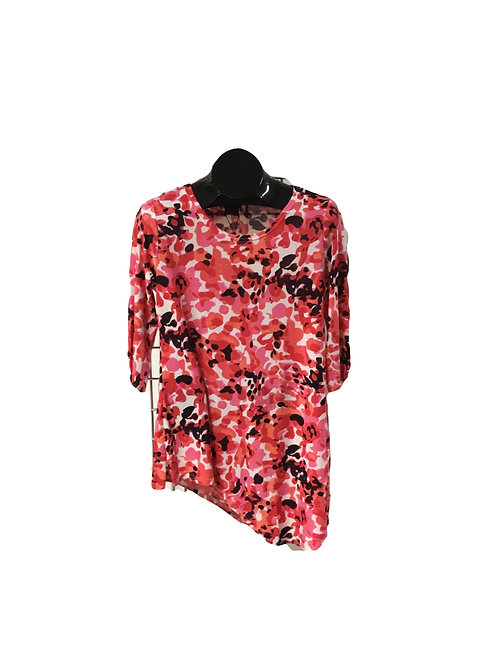 Pink White and Black Print 3/4 Sleeve Asymmetric Tunic