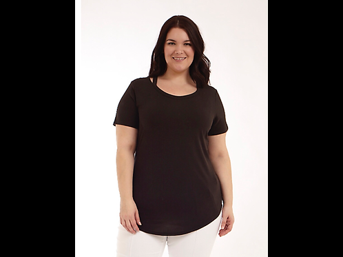 Black Full Figure V-Neck Short Sleeve Top