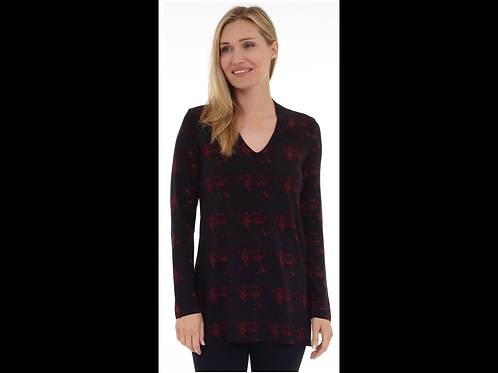 Red and Black V-Neck Tunic