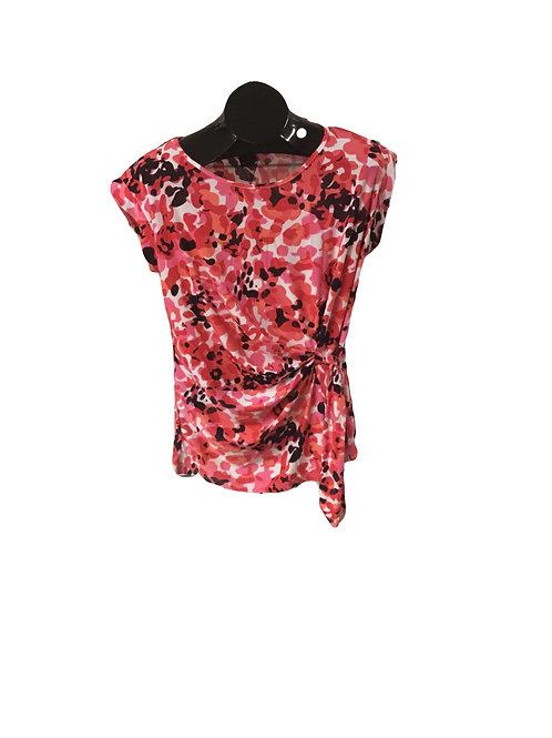 Pink White and Black Print Side Tied Capsleeve Top